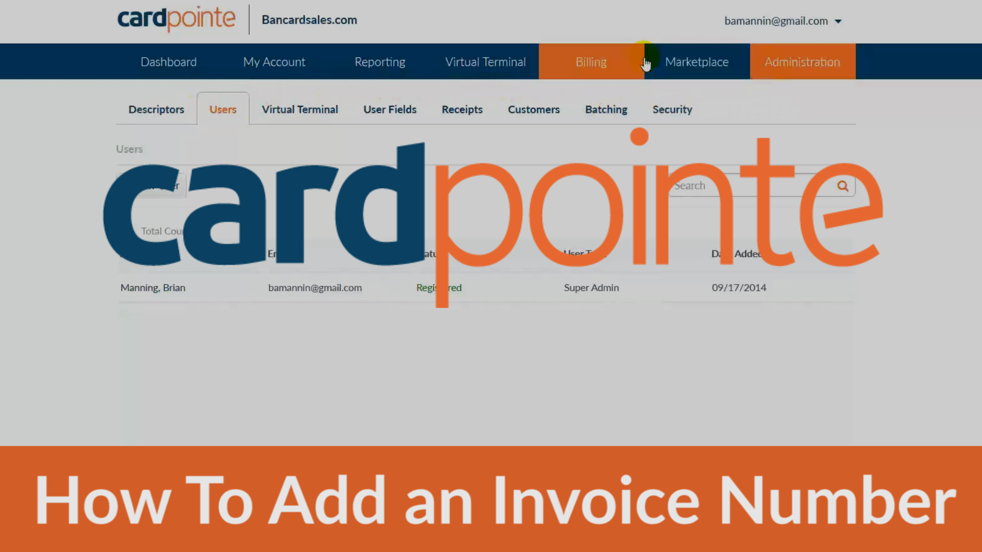 Cardpointe Online - Adding Invoice Number and other custom fields in Cardpointe