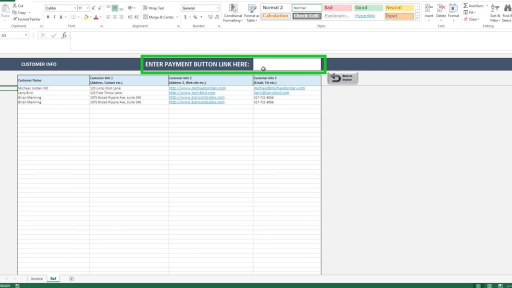 Create invoice in excel