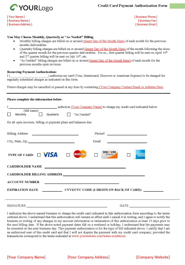 Credit card authorization form template #2