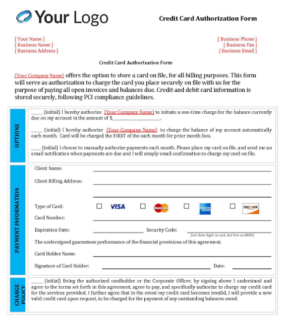 Example Client Credit Card On File Form Template #1