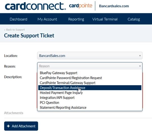 Open-a-Support-ticket-select-reason-code-cardconnect-card